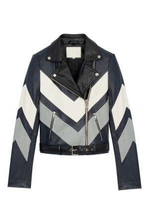 Кожаная куртка с контрастными шевронами Maje. Цвет: multicolor