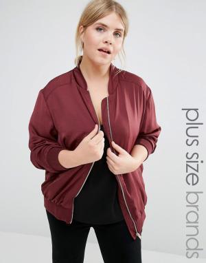 Сатиновая куртка‑пилот New Look Plus. Цвет: красный