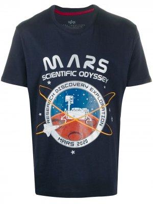 Футболка с принтом Mars Alpha Industries. Цвет: синий