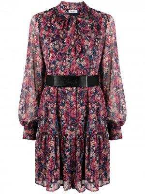 Платье с цветочным принтом и поясом LIU JO. Цвет: синий