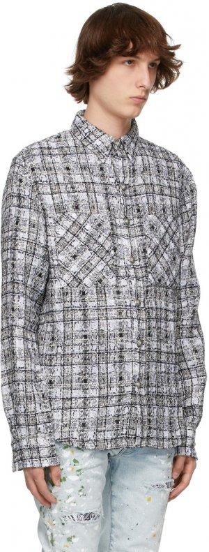 SSENSE Exclusive Black & White Check Tweed Oversized Shirt Faith Connexion. Цвет: 110 black/white
