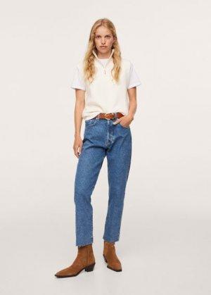 Прямые джинсы с завышенной талией и контрастом - Cindy Mango. Цвет: темно-синий