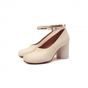Кожаные туфли Court Maison Margiela. Цвет: кремовый