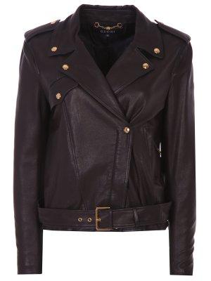 Куртка-косуха кожаная GUCCI. Цвет: коричневый