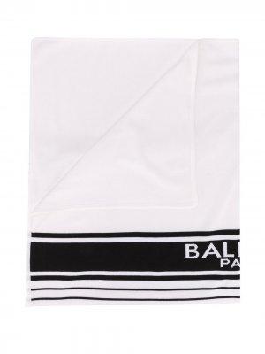 Одеяло в полоску с логотипом Balmain Kids. Цвет: белый