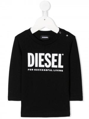 Футболка с логотипом и пуговицами сбоку Diesel Kids. Цвет: черный