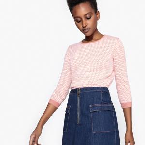 Пуловер жаккардовый двухцветный с рукавами 3/4 LA REDOUTE COLLECTIONS. Цвет: жаккардовая охра