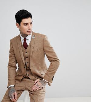 Облегающий эластичный пиджак из твида с узором в елочку -Рыжий Heart & Dagger