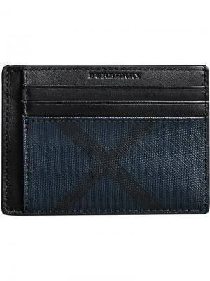 London Check Money Clip Card Case Burberry. Цвет: синий