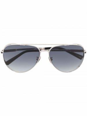 Солнцезащитные очки-авиаторы с градиентными линзами Chopard Eyewear. Цвет: серебристый