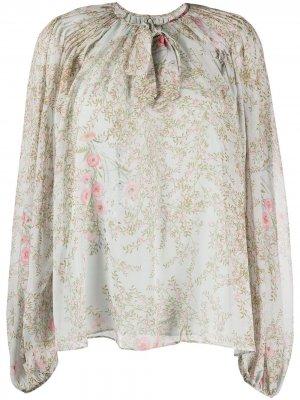 Блузка с длинными рукавами и цветочным принтом Giambattista Valli. Цвет: синий