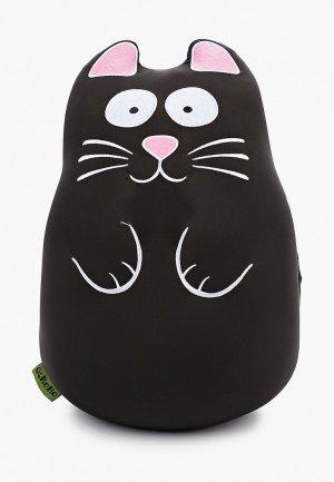 Подушка декоративная Gekoko Кот черный. Цвет: черный