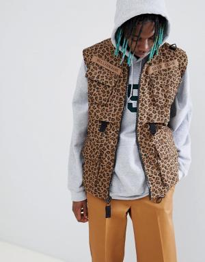 Коричневый жилет с леопардовым принтом Billionaire Boys Club. Цвет: коричневый