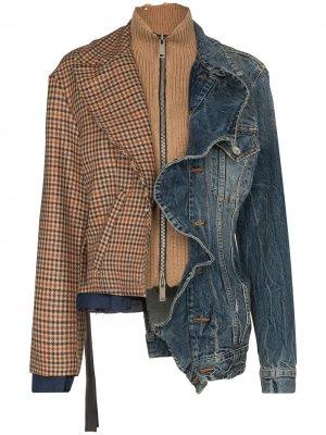 Джинсовая куртка с контрастными вставками UNRAVEL PROJECT. Цвет: синий