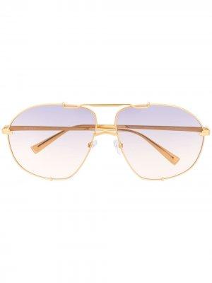 Солнцезащитные очки-авиаторы Mina из коллаборации с Linda Farrow The Attico. Цвет: золотистый