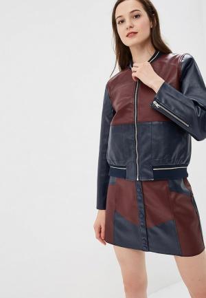 Куртка кожаная Pepe Jeans. Цвет: бордовый