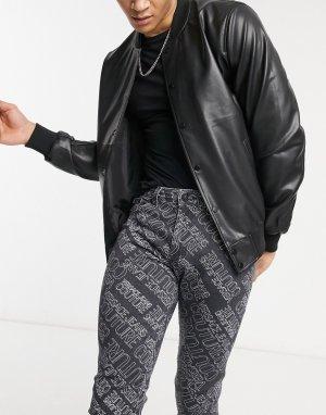 Черные зауженные джинсы со сплошным принтом логотипа Couture-Черный цвет Versace Jeans