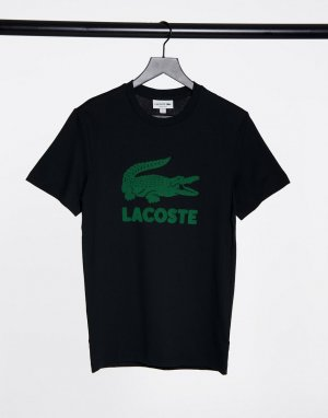 Черная футболка с большим логотипом-крокодилом -Черный Lacoste