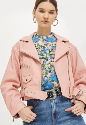 Куртка кожаная Topshop. Цвет: розовый
