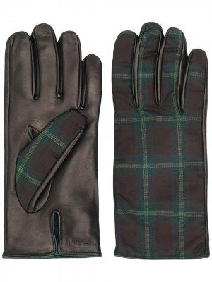 Перчатки с клетчатыми вставками Paul Smith. Цвет: коричневый