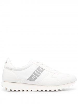 Кроссовки с принтом Blauer. Цвет: белый