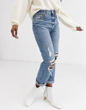 Синие джинсы в винтажном стиле с рваной отделкой -Синий River Island