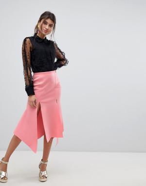 Юбка миди с разрезами -Розовый ASOS DESIGN