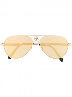 Солнцезащитные очки-авиаторы Skull Philipp Plein. Цвет: золотистый