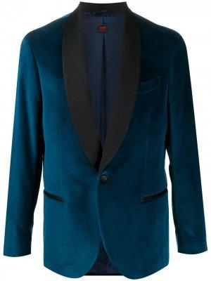 Бархатный пиджак MP Massimo Piombo. Цвет: синий
