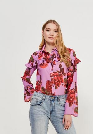 Блуза LOST INK FLORAL PRINTED FRILL SHIRT. Цвет: фиолетовый