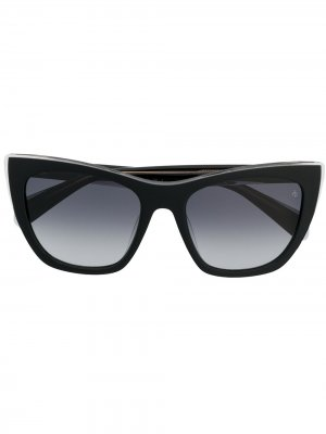 Солнцезащитные очки в квадратной оправе с затемненными линзами RAG & BONE EYEWEAR. Цвет: черный