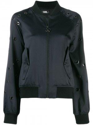 Куртка-бомбер с люверсами Karl Lagerfeld. Цвет: синий