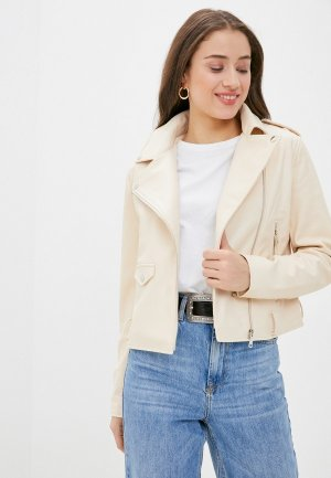 Куртка кожаная Sela. Цвет: бежевый