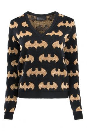 Шерстяной пуловер с золотистым люрексом Philipp Plein