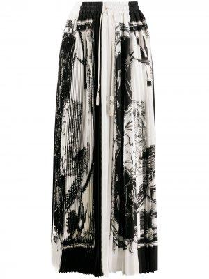 Плиссированная юбка макси Soleil Salvatore Ferragamo. Цвет: белый