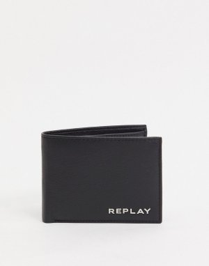 Черный кожаный бумажник Replay