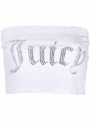 Укороченный топ с логотипом Juicy Couture. Цвет: белый