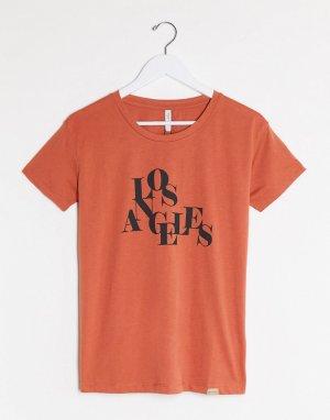 Коричневая футболка с надписью Los Angeles -Коричневый Blend She