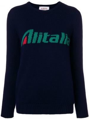 Джемпер Alitalia вязки интарсия Alberta Ferretti. Цвет: синий