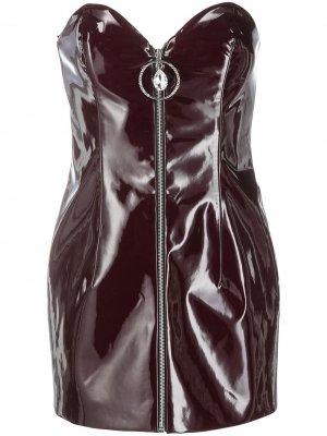 Короткое платье с вырезом в форме сердца Azzaro. Цвет: красный