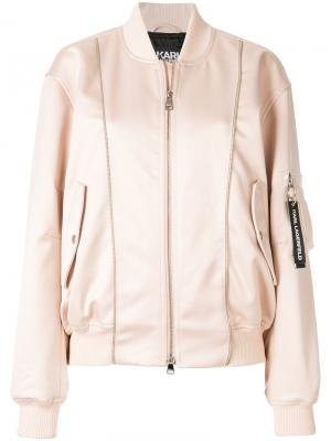 Куртка-бомбер Karl Lagerfeld. Цвет: розовый и фиолетовый