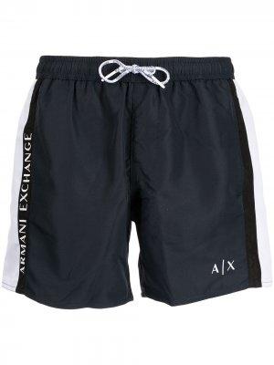 Logo drawstring swim shorts Armani Exchange. Цвет: синий