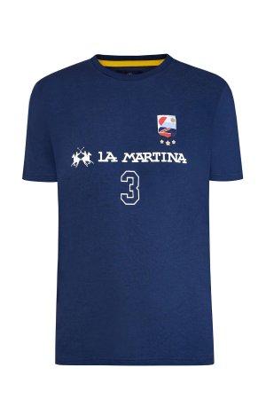 Футболка из хлопка джерси с фирменной эмблемой и принтом-леттеринг LA MARTINA. Цвет: синий