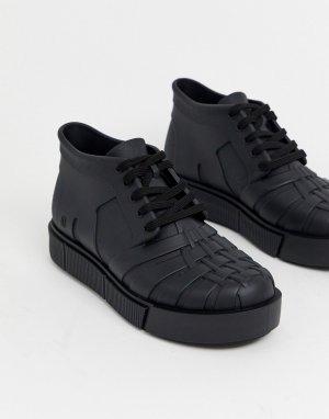 Черные высокие кроссовки на массивной подошве -Черный Melissa