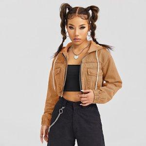 Джинсовая куртка с капюшоном, карманами клапанами и кулиской SHEIN. Цвет: коричневые