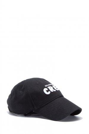 Черная кепка из денима с логотипом Balenciaga. Цвет: черный