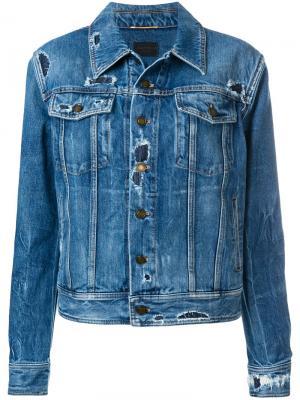 Джинсовая куртка с рваными деталями Saint Laurent