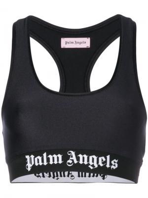 Укороченный топ с логотипом Palm Angels. Цвет: чёрный