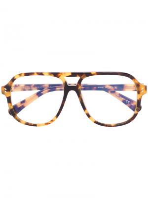 Солнцезащитные очки в оправе с эффектом черепашьего панциря Stella Mccartney Eyewear. Цвет: коричневый