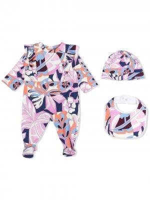 Комплект из пижамы, нагрудника и шапки с принтом Emilio Pucci Junior. Цвет: фиолетовый